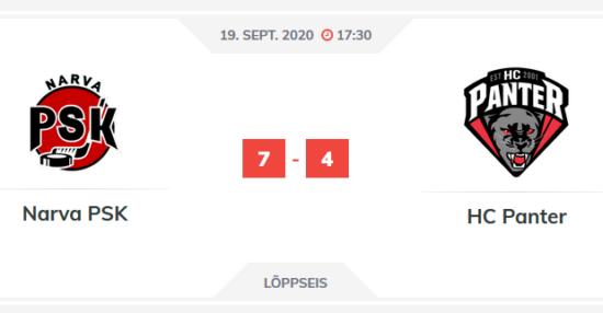 Mängu kokkuvõtte: sept. 19 Narva PSK vs HCPanter