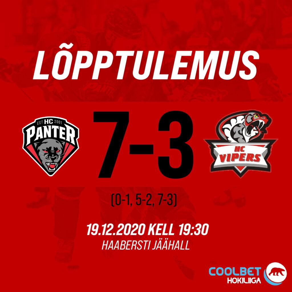 Selle aastanumbri viimane kodumäng mängitud ja võit tuli koju! HC Panter 7 – 3 HC Vipers